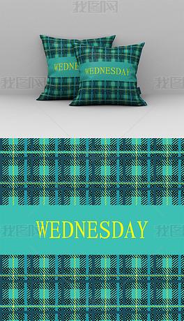 北欧风绿色几何条纹抱枕图案设计