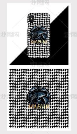 复古风海豚手机壳图案设计