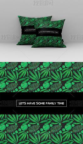 简约风绿色植物抱枕图案设计