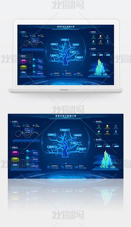 蓝色科技感可视化数据大屏数据监控分析大屏