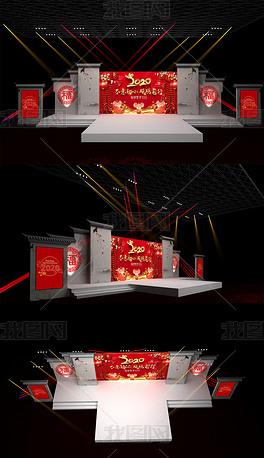 新中式舞美设计3Dmax模型效果图