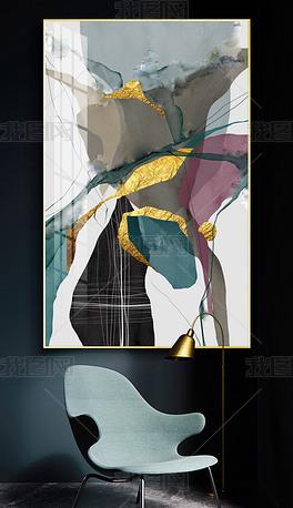 花纹图案-北欧现代手绘轻奢新中式抽象花纹图案家居数码图案