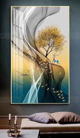 花纹图案-新中式现代轻奢艺术抽象风景壁画花纹图案家居数码图案