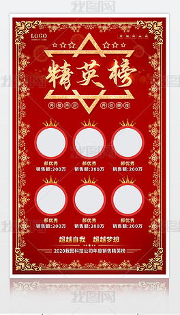 红色大气光荣榜精英榜销售冠军海报展板设计
