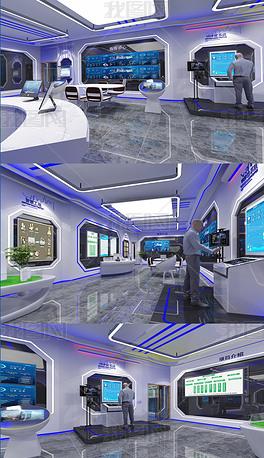 现代企业展厅3DMAX模型效果图