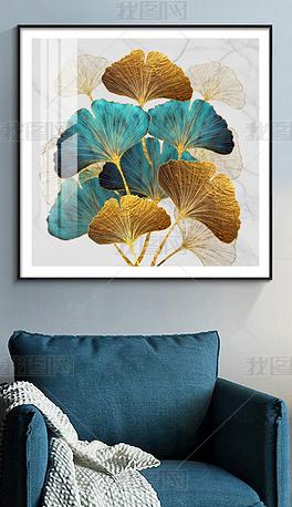 花纹图案-手绘现代简约银杏叶轻奢壁画花纹图案家居数码图案