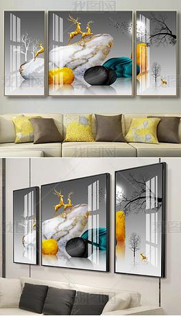 花纹图案-现代创意简约石来运转金色石头发财树晶瓷三联花纹图案家居数码图案