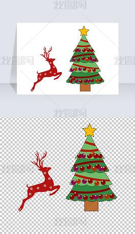 冬天圣诞节圣诞树森林麋鹿节日素材免扣元素