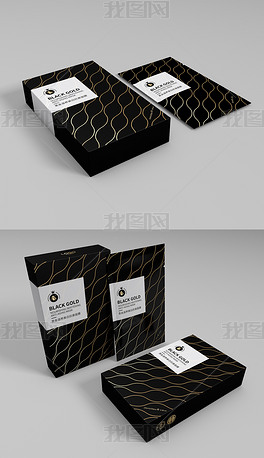 简约金色黑高端大气化妆品面膜包装设计