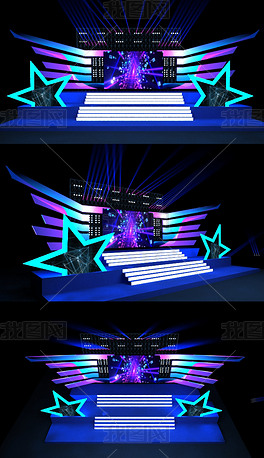 星光灿烂3DMAX舞美设计效果图