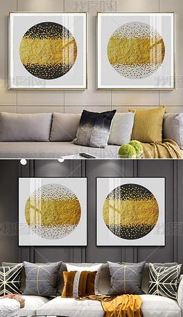 花纹图案-现代简约晶瓷抽象石来运转金色颗粒双联花纹图案家居数码图案