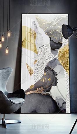 北欧后现代手绘轻奢新中式抽象客厅玄关装饰画