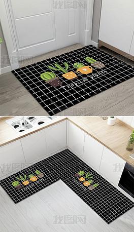 原创现代简约热带植物叶子门厅垫厨房垫