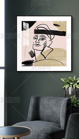 莫兰迪色装饰画个性小众艺术抽象人物矢量图