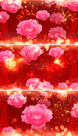 大气舞台晚会开场花儿绽放LED视频背景素材