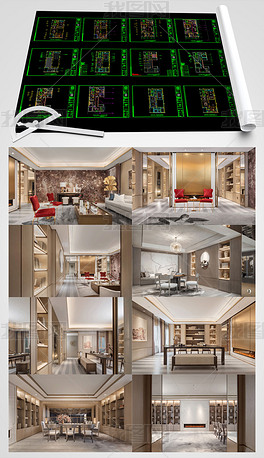 新中式文儒德别墅全套CAD施工图高清图