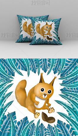 北欧风手绘松鼠抱枕图案设计