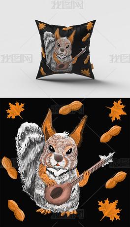卡通风吉他松鼠抱枕图案设计