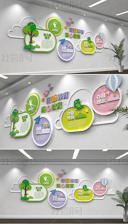 清爽卡通幼儿园文化墙校园文化墙