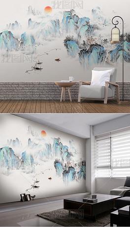 新中式国画山水抽象意境工笔画电视背景墙