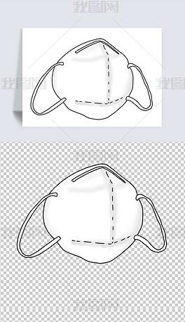 N95口罩卡通手绘防雾霾口罩卡通消毒口罩插画