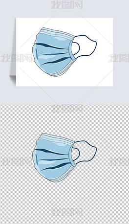 原创蓝色矢量一次性医用外科口罩.eps