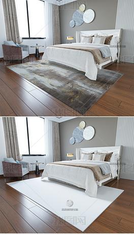 高清现代简约卧室客厅地毯场景样机234