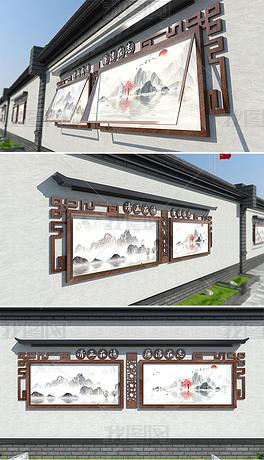 社区户外挂壁式古典中国风立体廉政宣传栏