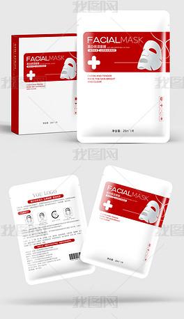 红色极简医美面膜包装袋包装盒设计