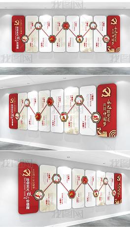 红色大气楼梯间社会主义核心价值观文化墙红旗华表党员活动室走廊党群服务中心