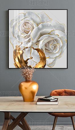 北欧现代艺术手绘轻奢玫瑰花卉金箔玄关装饰画