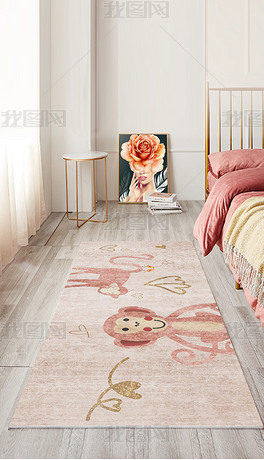 北欧现代简约ins高档轻奢抽象可爱小猴床边毯地毯地垫