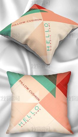 北欧现代简约小清新几何三角形红绿英文抱枕枕头家居图案