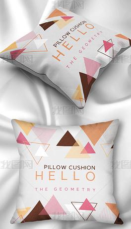 北欧现代简约小清新几何三角形红色英文抱枕枕头家居图案