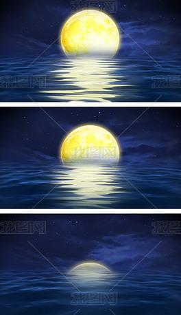 4K海上升明月中秋晚会舞台视频背景