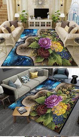 花开富贵浮雕地毯