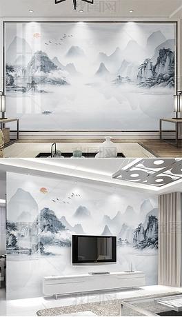 唯美极简新中式大理石纹意境山水背景墙