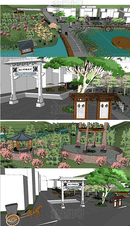 精品文化主题公园景观su模型
