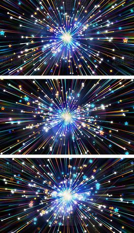 4K五角星一闪一闪亮晶晶放射状炫彩视频