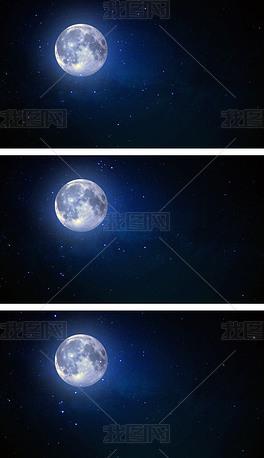 4K夜黑风高月夜星空视频循环背景