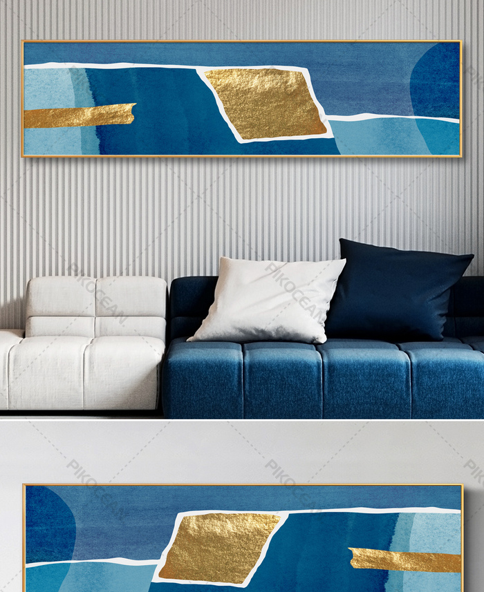 Modern Abstract New Chinese Blue Ink Texture Living Room Sofa Bedside Decoration Painting 1download Pikocean