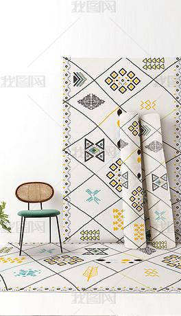 北欧简约现代几何摩洛哥民宿ins卧室床边毯地毯地垫