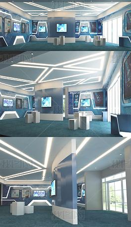 现代公司企业展厅3DMAX模型效果图