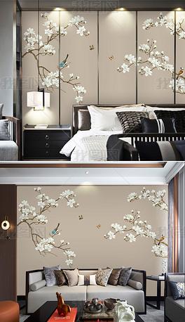 新中式手绘工笔花鸟玉兰花水墨山水轻奢背景墙