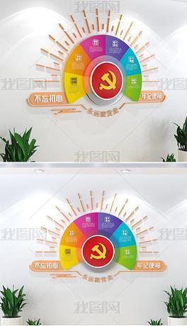 多彩创意党建文化墙永远跟党走党员活动室布置