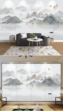 新中式现代写意水墨山水电视背景墙装饰画