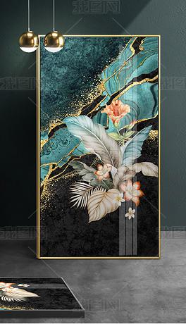 现代时尚抽象手绘热带植物叶子烁金抽象艺术背景轻奢玄关装饰画