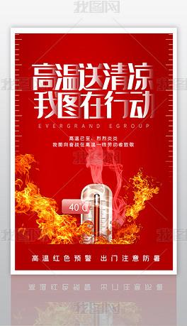 创意时尚高温预警海报设计