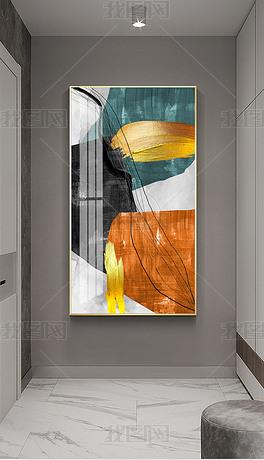 北欧后现代复古抽象轻奢痕迹金色几何线条玄关装饰画4