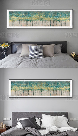 现代简约抽象美式金箔油画客厅床头装饰画